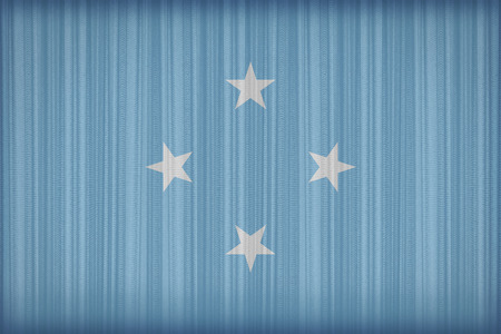 micronesia: Micronesia flag pattern on the fabric curtain,vintage style Stock Photo