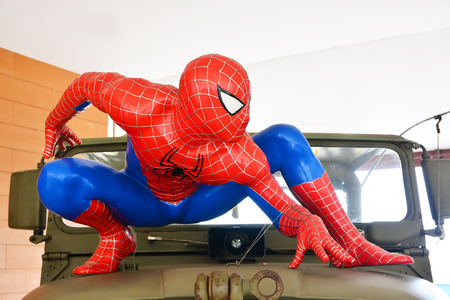 spider cartoon: AYUTTAYA,THAILAND - MARCH 04, 2015: Spider-Man model display on car at Thung Bua Chom floating market Editorial