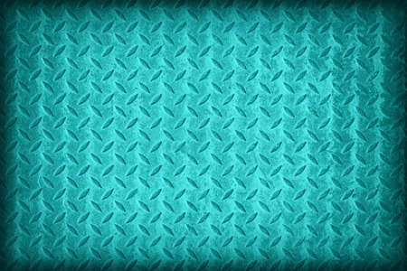 diamond plate: Cyan flag pattern on diamond metal plate texture ,vintage style Stock Photo