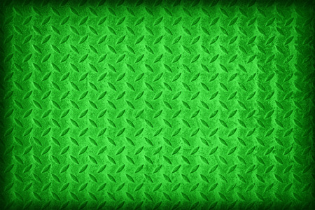 metal plate: Green flag pattern on diamond metal plate texture ,vintage style Stock Photo