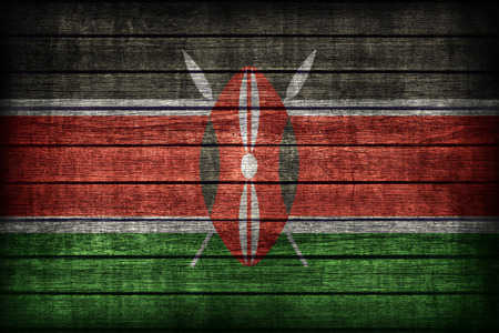 kenya: Kenya flag pattern on wooden board texture ,retro vintage style