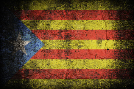 anthem: Catalan Independence blue estelada flag pattern on dirty old concrete wall texture ,retro vintage style