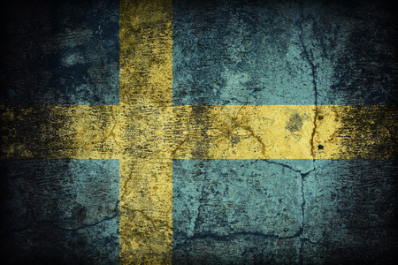 Sweden flag pattern on dirty old concrete wall texture ,retro vintage style