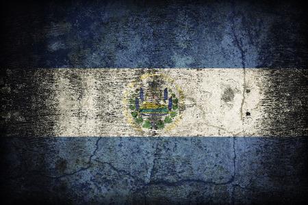 bandera de el salvador: Patr�n de la bandera El Salvador el viejo y sucio textura de la pared de concreto, estilo retro de la vendimia