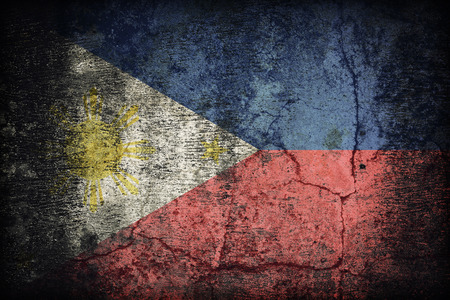 Philippines flag pattern on dirty old concrete wall texture ,retro vintage style
