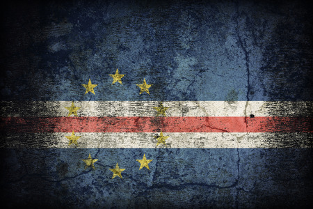 cape verde flag: Cape Verde flag pattern on dirty old concrete wall texture ,retro vintage style