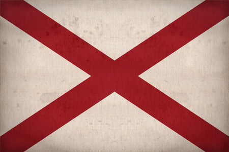 alabama flag: Alabama flag on fabric texture,retro vintage style Stock Photo