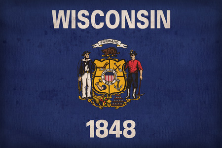 wisconsin flag: Wisconsin flag on fabric texture,retro vintage style Stock Photo