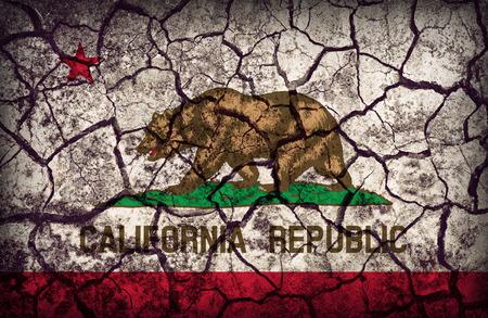 california flag: California flag pattern on crack soil texture,retro vintage style Stock Photo