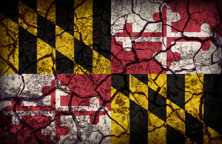 maryland flag: Maryland flag pattern on crack soil texture,retro vintage style Stock Photo