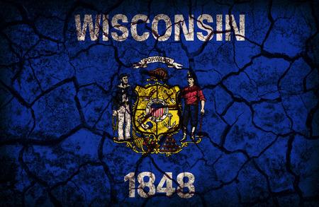 wisconsin flag: Wisconsin flag pattern on crack soil texture,retro vintage style Stock Photo