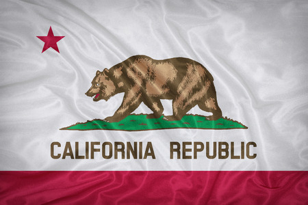 california flag: California flag on fabric texture,retro vintage style Stock Photo