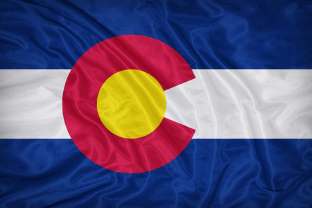 colorado flag: Colorado flag on fabric texture,retro vintage style