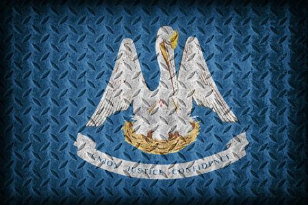 louisiana flag: Louisiana flag pattern on diamond metal plate texture ,vintage style
