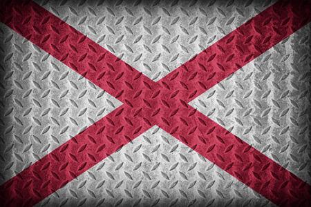 alabama flag: Alabama flag pattern on diamond metal plate texture ,vintage style Stock Photo