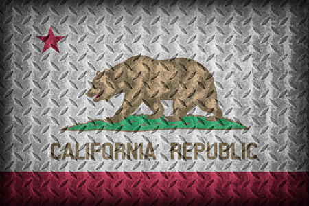 california flag: California flag pattern on diamond metal plate texture ,vintage style Stock Photo