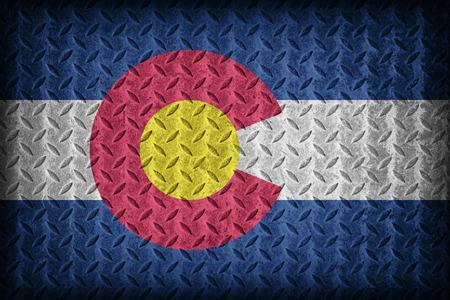 colorado flag: Colorado flag pattern on diamond metal plate texture ,vintage style