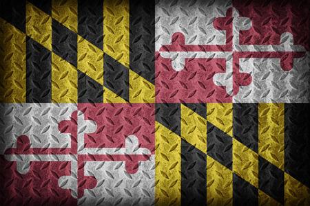 ダイヤモンド プレート テクスチャ、ビンテージ スタイルのメリーランド州の旗パターン 写真素材