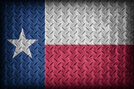 Texas flag pattern on diamond metal plate texture ,vintage style