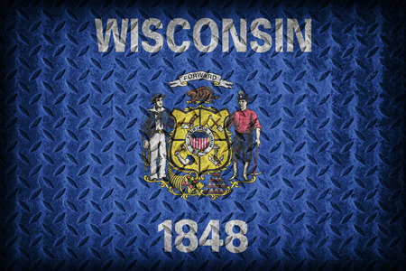 wisconsin flag: Wisconsin flag pattern on diamond metal plate texture ,vintage style