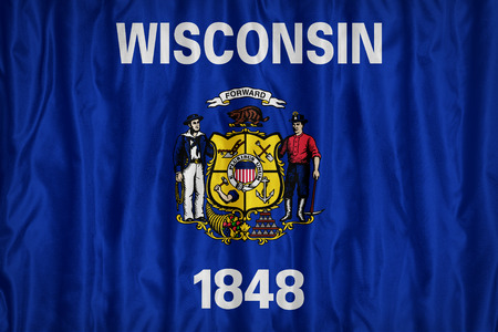 wisconsin flag: Wisconsin flag pattern with a peace on fabric texture,retro vintage style