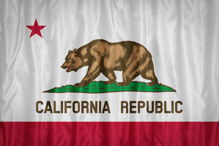 california flag: California flag pattern with a peace on fabric texture,retro vintage style Stock Photo