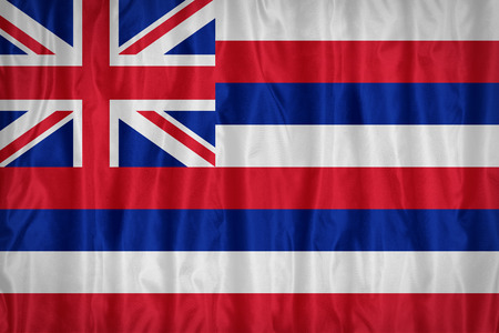 hawaii flag: Hawaii flag pattern with a peace on fabric texture,retro vintage style