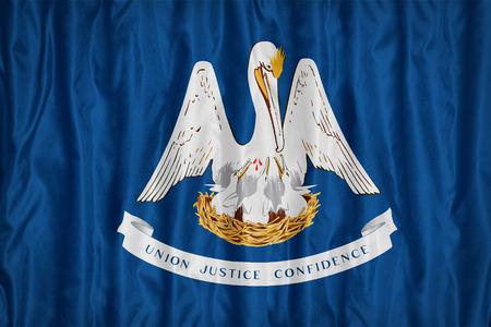 louisiana flag: Louisiana flag pattern with a peace on fabric texture,retro vintage style