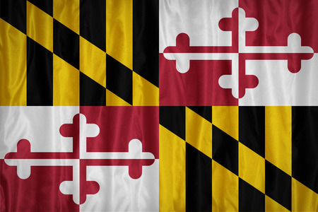 maryland flag: Maryland flag pattern with a peace on fabric texture,retro vintage style