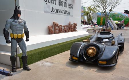 batman: AYUTTAYA,THAILAND - APRIL 11, 2015 : Batman model and Batmobile at Thung Bua Chom floating market Editorial