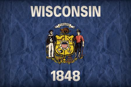wisconsin flag: Wisconsin flag on paper texture,retro vintage style Stock Photo