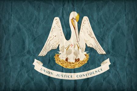 louisiana flag: Louisiana flag on paper texture,retro vintage style