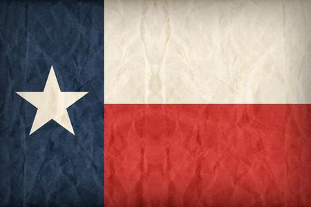 紙の質感、レトロなビンテージ スタイルのテキサス州旗