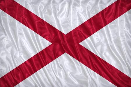 alabama flag: Alabama flag pattern on the fabric texture ,vintage style Stock Photo