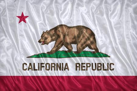 california flag: California flag pattern on the fabric texture ,vintage style Stock Photo