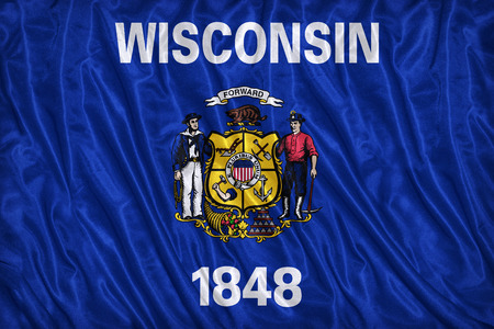 wisconsin flag: Wisconsin flag pattern on the fabric texture ,vintage style Stock Photo