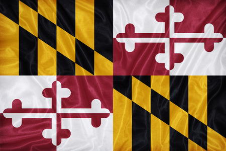 maryland flag: Maryland flag on fabric texture,retro vintage style Stock Photo