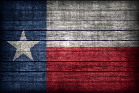 Texas flag pattern on wooden board texture ,retro vintage style Stock Photo