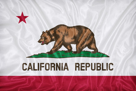 california flag: California flag pattern on fabric texture,retro vintage style