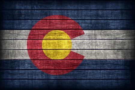 colorado flag: Colorado flag pattern on wooden board texture ,retro vintage style