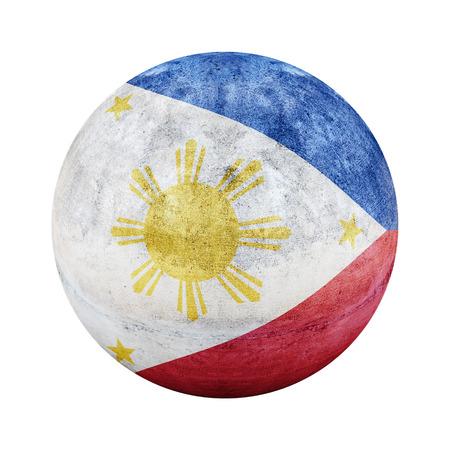 vintage flag: Philippines  flag pattern on stone circle shape texture