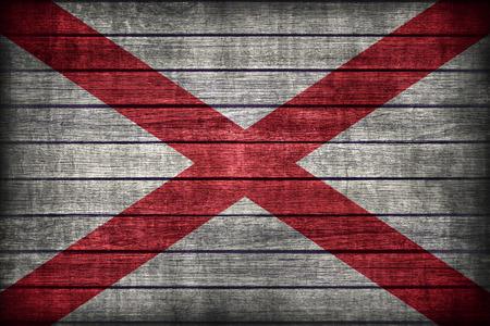 alabama flag: Alabama flag pattern on wooden board texture ,retro vintage style