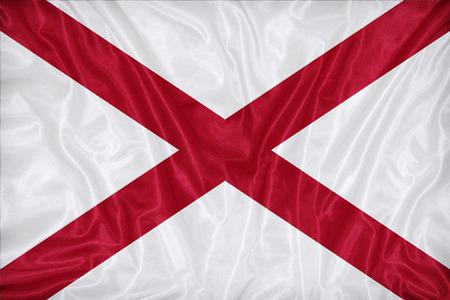 alabama flag: Alabama flag pattern on fabric texture,retro vintage style Stock Photo