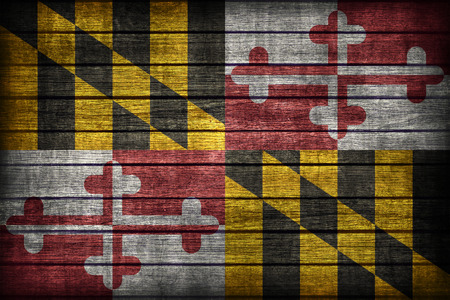 maryland flag: Maryland flag pattern on wooden board texture ,retro vintage style