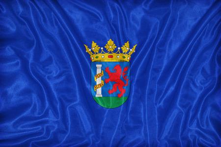 foreign land: Badajoz flag pattern on fabric texture,retro vintage style Stock Photo