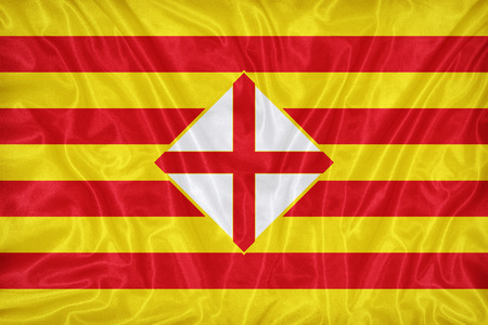 foreign land: Barcelona flag pattern on fabric texture,retro vintage style