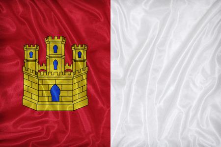 foreign land: Castile-La Mancha flag pattern on fabric texture,retro vintage style