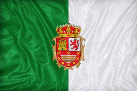 foreign land: Fuerteventura flag pattern on fabric texture,retro vintage style