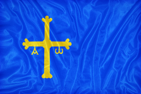 foreign land: Principality of Asturias flag pattern on fabric texture,retro vintage style
