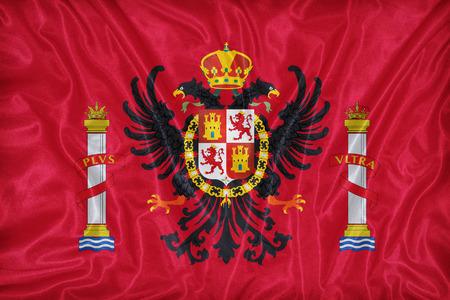 foreign land: Toledo flag pattern on fabric texture,retro vintage style